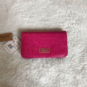 Buxton Pink Faux Alligator Mini Bag Satchel Wallet
